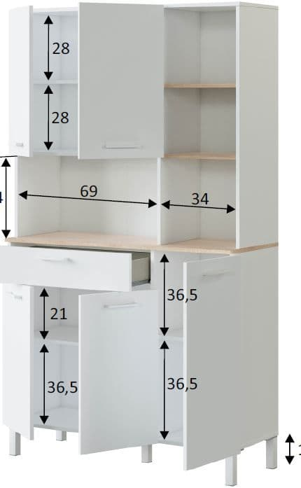Elma Tall Large Utility Room Kitchen Pantry Cupboard with Microwave Storage Section